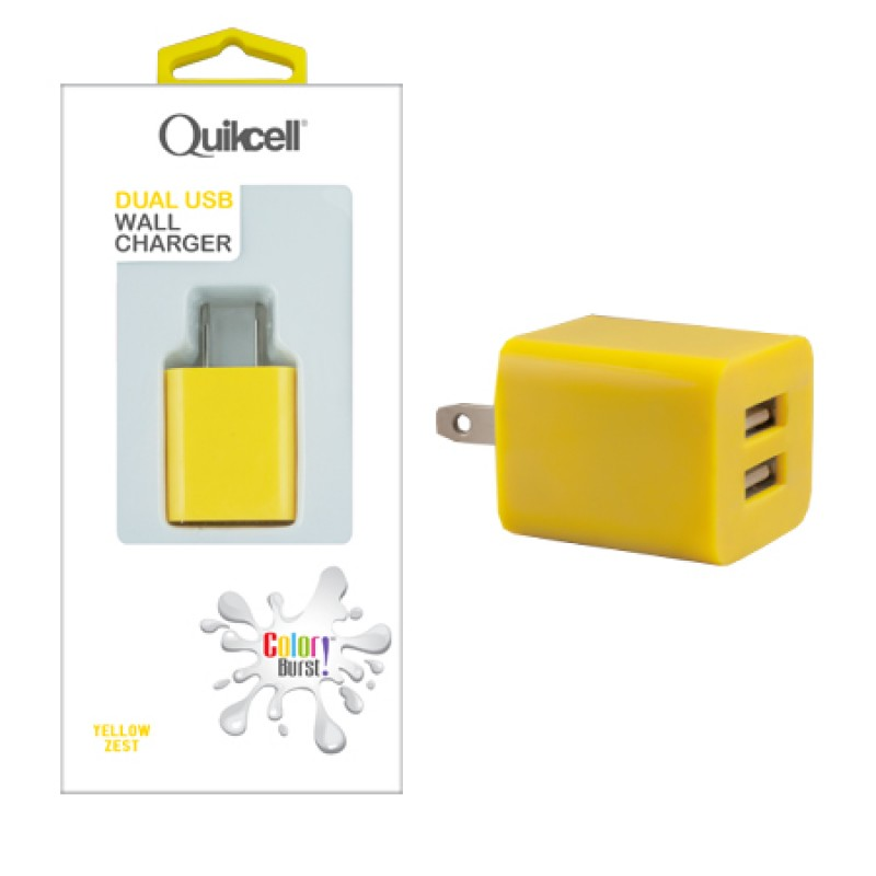 chargeur quikcell usb 2a jaune. Black Bedroom Furniture Sets. Home Design Ideas