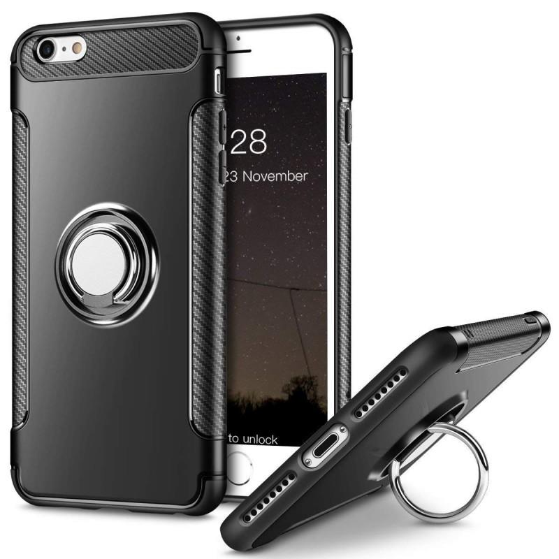 Etui hybride avec anneau pour iPhone 6/6S (noir)