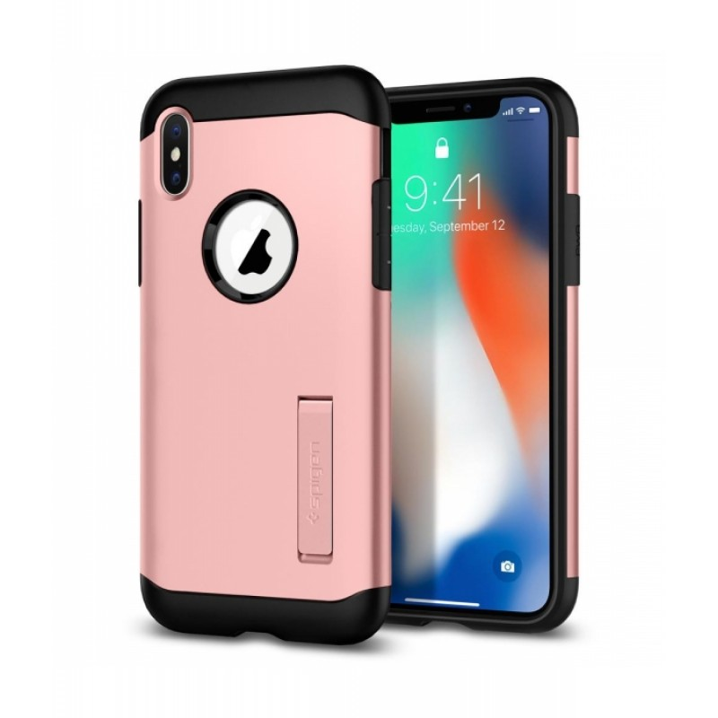 Étui Spigen Slim Armor Kickstand iPhone X Antichoc Rose